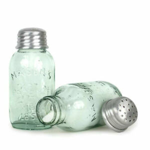 Pair of Mini Mason Jar Salt and Pepper Shakers Country Farmhouse Kitchen Decor
