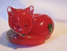BEAUTIFUL HAND MADE SIGNED LANGHAM GLASS CRYSTAL RED AT REST FOX PAPERWEIGHT