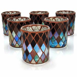 6 x Official Yankee Autumn Mosaic Glass Votive Candle Holders Gift