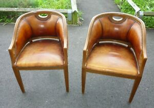 Very Decorative And Comfortable Pair Of Leather Upholstered Vintage Tub Chairs