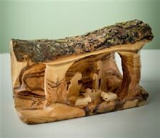 Olive Wood Handcrafted Nativity ~ Small Log Grotto/Holy Family Carved in Branch