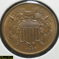 1865 U.S. 2¢ Piece Near Gem Uncirculated Nice Coin Some Red