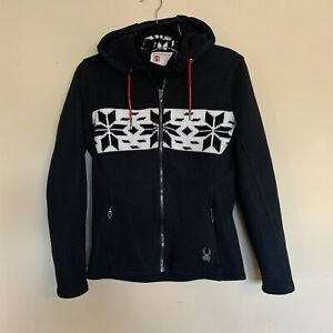 SPYDER Soiree Black Core Sweater Jacket Hoody Fair isle Women's Size Medium