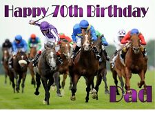 PERSONALISED HORSE RACING A4 TRI FOLD BIRTHDAY CARD ANY NAME AGE GREETING