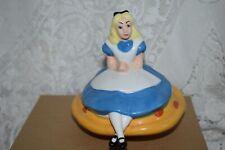Rare Disney Alice In Wonderland Sitting on a Mushroom Porcelain Ceramic Figurine
