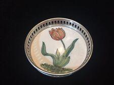 "Vintage Pewter & Handpainted Ceramic Flower Coaster, Signed by Kurz, 4 1/2"" Dia"