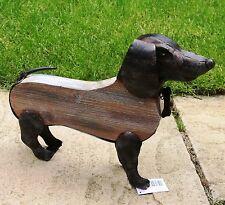 Garden Animal Sculpture Ornament - Metal + Wood Rustic SAUSAGE DOG (38cm) Primus