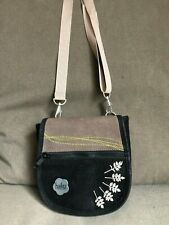 HAIKU Women's Handbag Purse Black/Olive Suede Embroidered Crossbody NWOT