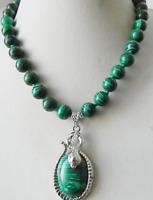New Pretty 10mm Green Malachite Gemstone Pendant Necklace 18''AAA