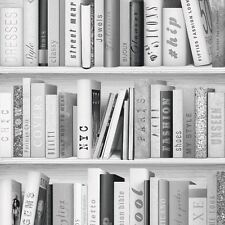 SILVER FASHION LIBRARY BOOKCASE WALLPAPER - MURIVA 139502 GLITTER