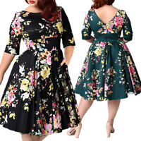 3XL-9XL Plus Size Womens 50s Swing Rockabilly Vintage Full Circle Party Dress