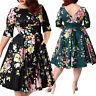 Plus Size Women Vintage 50's Rockabilly Dress Cocktail Evening Party Swing Dress