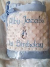 PERSONALISED BABY BLANKET BEATRIX POTTER PETER RABBIT BLUE/ WHITE OR PINK/WHITE