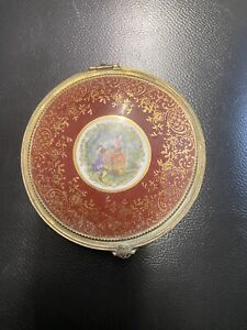 vintage gilt victorian powder box