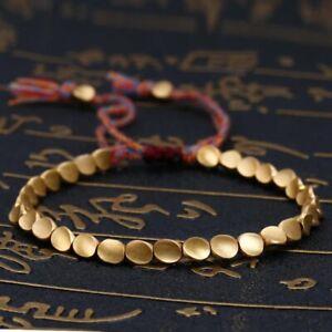 Handmade Tibetan Copper Bead Bracelet for Women Adjustable Rope 006
