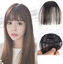 Thin Neat Air Bangs Real Hair Extension Clip in Korean Fringe Front Hairpiece