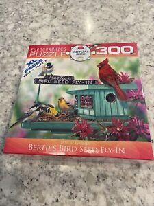 Eurographics 300 Piece Puzzle XL Pieces Bertie's Bird Seed Fly-in Janene Grende