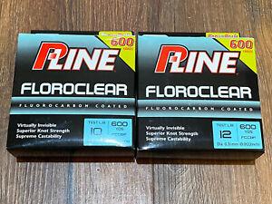 Pline Clear Floroclear Fluorocarbon Fishing Line 10 & 12 lb 600 Yards 1200 Total