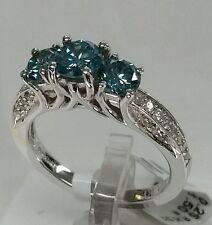 18k white gold blue stone Fine Ring,1.75cttw.1.50ct Blue diamond 0.25ct side Dia