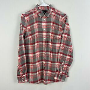 J Crew Womens Small Shirt Top Pink Gray Plaid Cotton Flannel Button Down Z45