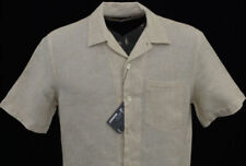 Men's MURANO Khaki Natural Linen Fitted Open Neck S/S Shirt Large L NEW NWT