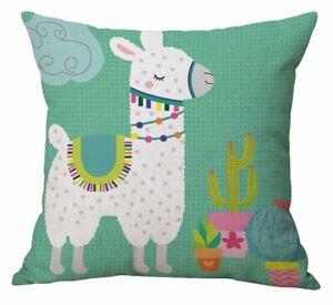 Llama Cactus Decorative Pillow Covers Linen Cotton Animal Print Cushion Cover