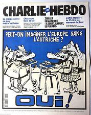 """Charlie hebdo n°399 du 9/02/2000; """"L'Europe sans l'Autriche ? oui"""""""