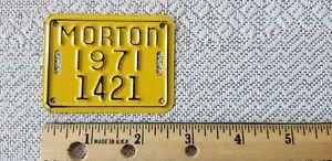 Vintage 1971 Morton Illinois Bike Bicycle License plate Number 1421