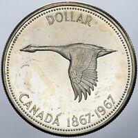 1967 CANADA SILVER DOLLAR GOOSE PROOF UNC BEAUTIFUL CHOICE BU GEM (DR)