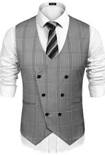 COOFANDYMens Double Breasted Suit Vest Slim Fit Business Formal Wedding...