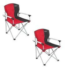 X2 (PAIR) Quest Folding Commander Camping Chair - Red / Black RRP £100