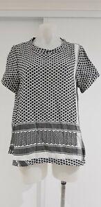 CECILIE Black & White Checked Short Sleeve Cotton Top - Sz M - EUC