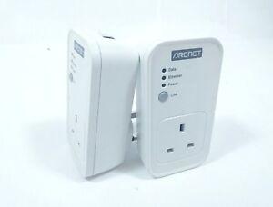 2x Arcnet PL3001A 200Mbps PLC Passthrough Ethernet Powerline Adaptor