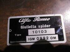 Alfa Romeo Id Nameplate 10103 Giulietta Spider Igm 0992 S37