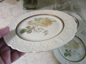 FOUR vintage Old Holland ware dessert plates. Rose
