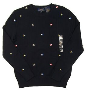 Polo Ralph Lauren Boys Navy Blue Embroidered Graphic Crew-Neck Pullover Sweater