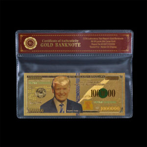 WR US President Donald Trump 1 Million Dollar Bill 24K GOLD Foil Banknote /w COA