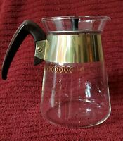 Vintage Pyrex Corning Glass Coffee Pot Carafe Gold Band and Silver Lid Rare Find