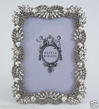 "Olivia Riegel SILVER BOTANICA 4"" x 6"" Picture Photo Frame crystals rhinestones"