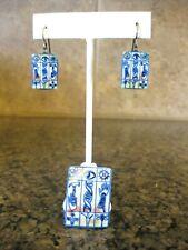 Unusual Artisan Ceramic Pin Brooch & Pierced Earrings, Eye Hammer Hand Dragonfly