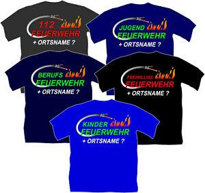Freiwillige Berufs Jugend Kinder 112 Feuerwehr Bekleidung Ausrüstung T-Shirt ORT