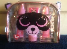 Ty Beanie Boos Body Mist,Lotion & Shower Gel Gift Set~NEW~Raccoon Cosmetic Bag
