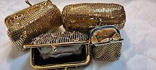 5 Vintage NEW Gold Mesh Clutch Makeup Bag Whiting Davis Change Purse Keyring LOT