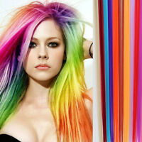 Clip In On Colorful Hair Piece Synthetic Cosplay Hair Extensions Highlight