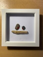 HANDMADE BEACH PEBBLE WALL ART PICTURE, TWO ROBINS ON A CHUNKY BRANCH