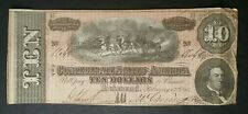 1864 $10 Confederate Note; C.S.A. Currency From Late Civil War Times