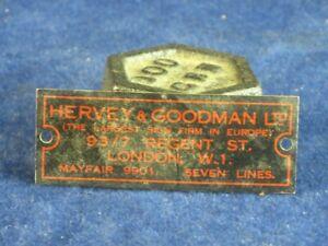 47970 Old Vintage Antique Tin Gramophone Box Case  Sign Badge Radio Goodman