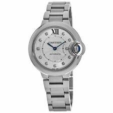 New Cartier Ballon Bleu 33mm Automatic Diamond Dial Steel Women's Watch WE902074