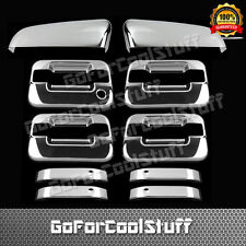 For Ford F-150 2009-2014 4Drs Handle W/O Pskh+Tophalf Mirror 2Pc Chrome Covers