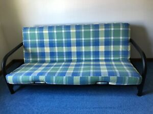 Futon Cover LL Bean blue/yellow/green plaid